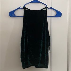 UO green velvet cropped tank top